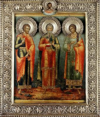 Мъченици Гурий, Самон и Авив. Икона. Росия. Края на XIX в.