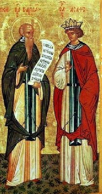 Преподобни Варлаам и Иоасаф. Икона. Новгород. XV в