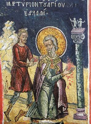 Мъчение на св. Варлаам. Фреска. Атон (Дионисиат). 1547 г.