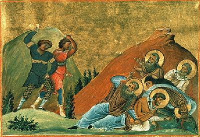 Свещенномъченици Иоан, Саверий, Исаакий и Ипатий, епископи Персийски. Миниатюра от Минологията на Василиий II. Константинопол. 985 г.