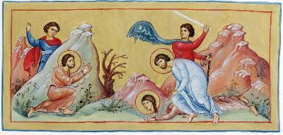 Мъченичество на свв. Архипп, Филимон и Апфия. Миниатюра. Константинопол. XI в.