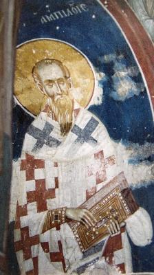 Свт. Амфилохий Иконийски. Фреска. Църква Христос Пантократор. Дечани. Сърбия (Косово). Около 1350 года.
