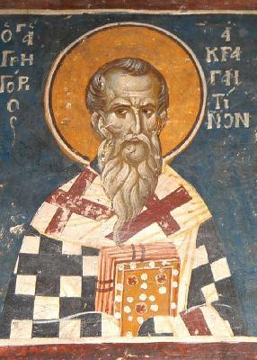 Свт. Григорий Акрагантийски. Фреска в храма св. Николай Орфанос. Солун. XIV в.