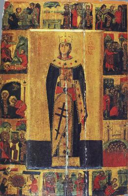 Света великомъченица Екатерина Александрийска. Икона с житие. Византия. XIII век. Манастир св. Екатерина на п-ов Синай (Египет)