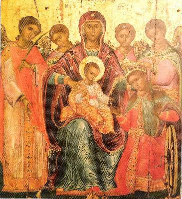 Сгодяване на света Екатерина с Небесния Жених. Икона от XVI век. Гърция