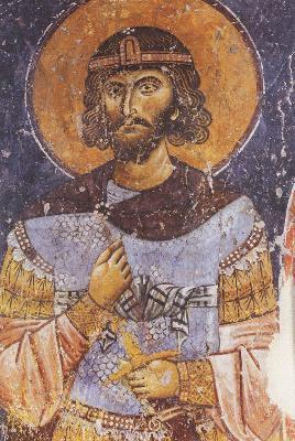 Свети великомъченик Меркурий. Фреска. Гърция. 1152 г.