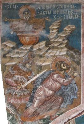 Страдание на свети великомъченик Меркурий. Св. прподобни Алипий. Фреска. Църква Христос Пантократор. Дечани. Косово. Сърбия. Около 1350 г.