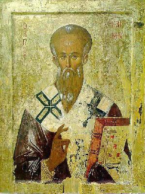 Св. Климент Охридски. Икона от XIV в. от църквата ''Св. Богородица Перивлепта'' в Охрид, Македония.