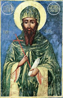 Св. прподобни Теодосий Търновски. Българска икона от XIX в.