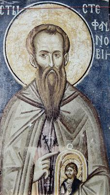 Св. прподобни Стефан Нови. Фреска. Църква Христос Пантократор. Дечани. Сърбия (Косово). Около 1350 г.