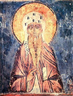 Преподобни Акакий Синайски. Фреска от църквата св. Симеон Богоприемец в Новгород. XVв.