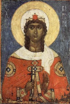 Света Великомъченица Варвара. Новгородска икона, XV в.