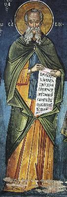 Преподобни Сава Освещени. Фреска. Атон (Дионисиат). 1547 г.