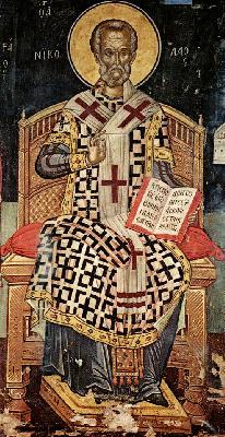 Свети Николай.  Фреска от църква свт. Николай. Манастир Ставроникита. Атон. 1546 год.
