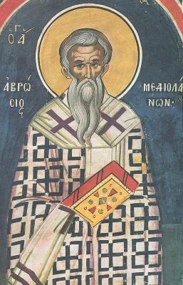 Свети Амвросий Медиолански. Фреска. Атон (Дионисиат). 1547 г.