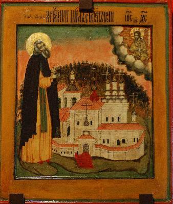 Преподобни Нил Столобенски на фона на манастира, XVII в.