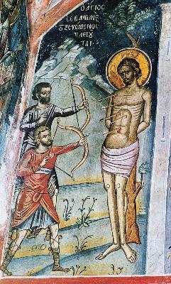 Мъчение на свети Севастиан. Фреска. Атон (Дионисиат). 1547 г.