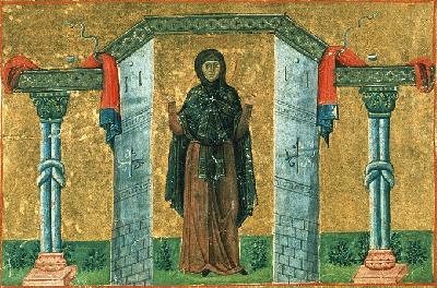 Преподобната Мелания Римлянка . Миниатюра от Минологията на Василий II. 1-ва четв. на XI в.