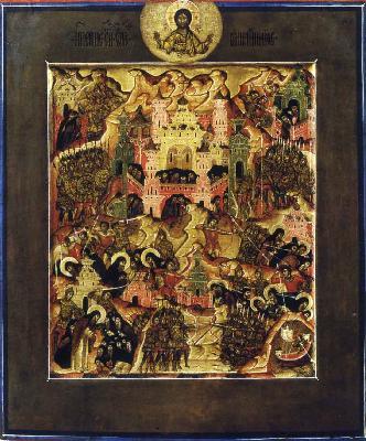 Избиване на преподонбите отци в Синай и Раифа. Икона. Русия. 1-ва половина на XVII в.