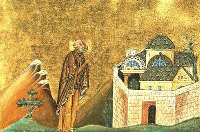 Преподобни Стефан Синайски. Миниатюра от Минологията на Василий II. 985г.