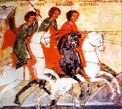 Мъченици Спевсип, Елевсип и Мелевсип. Фрагмент иконы XVIв.