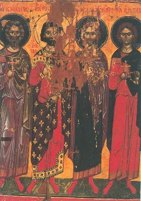 Мъченици Кандид, Евгений, Валериан и Акила Трапезундские. Икона. Византия. 1375 г. Манастир Дионисиат (Атон).