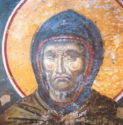 Преподобни Ефрем Сирин. Фреска в църквата Успение Богородично в Протат. Атон. Началото на XIV в.