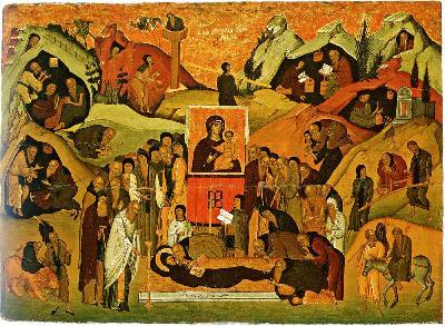 Представяне на преподобни Ефрем Сирин. Икона. Гърция. 1457 г. Византийски музей. Атина.