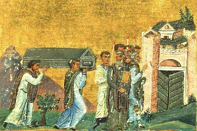 Пренасяне мощите на свещеномъченик Игнатий Богоносец. Миниатюра от Минологията на Василий II. 985г.