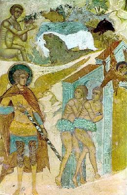 ''Изгонване на Адам и Ева от Рая''. Руска икона от XVII в.