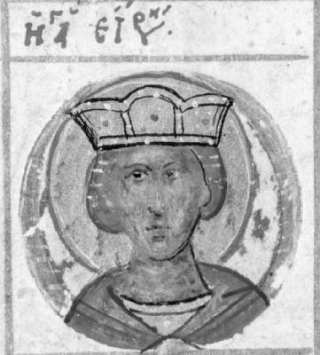 Мъченица Ирина. Миниатюра. Атон (Иверски м-р). Края на XV в.