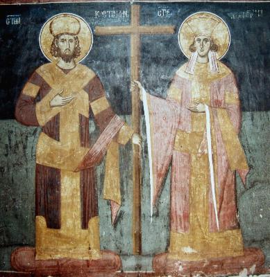 Свв. Равноапостолни Константин и Елена. Фреска. Църква Христос Пантократор. Дечани. Сърбия (Косово). Около 1350 г.