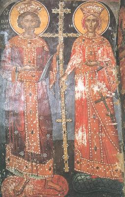 Свв. Равноапостолни Константин и Елена. Фреска. М-р Метеор. 1527 г.