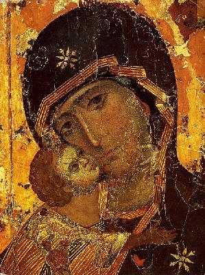 Фрагмент от чудотворната Владимирска икона на Божията майка