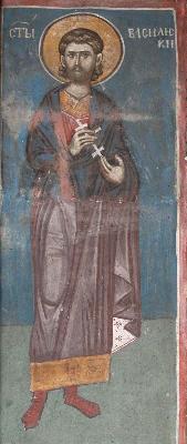Мъченик Василиск. Фреска. Църква Христос Пантократор. Дечани. Косово. Сърбия. Около 1350 г.
