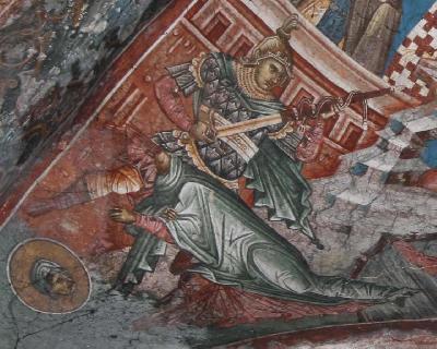 Мъчение на св. Еликонида. Фреска. Църква Христос Пантократор. Дечани. Косово. Сърбия. Около 1350 г.