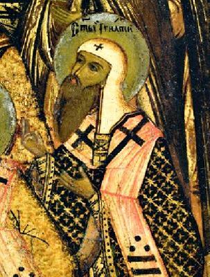 Свт. Игнатий, еп. Ростовски. Фрагмент от икона. Края на XVII в.