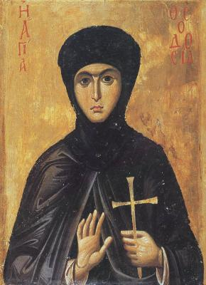 Св. Теодосия. Икона. Византия. XIII век. Манастир св. Екатерина в Синай (Египет)