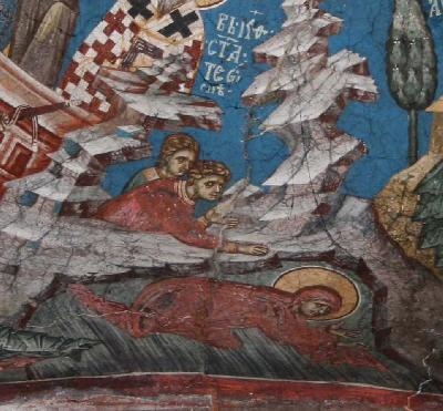 Мъченица Теодосия. Фреска. Църква Христос Пантократор. Дечани. Косово. Сърбия. Около 1350 г.