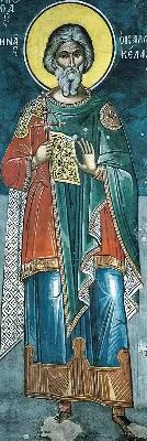 Св. мъченик Мина. Фреска. Атон (м-р Дионисиат). 1547 г.