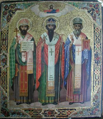 Светите Герасим, Питирим и Иона Великопермски. Руска икона от края на XIX, нач. на XXв.