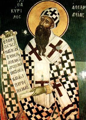 Свети Кирил Александрийски. Фреска от църквата ''Свт. Николай''. Манастир Ставроникита. Атон. 1546 г.