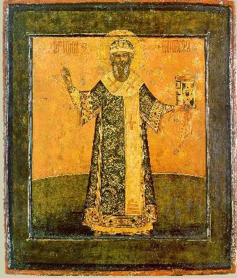 Митрополит Иона Московски. Икона от църквата ''Апостол Филип'' (събор на Дванадесет Апостола) Московския Кремъл. 1690 г.
