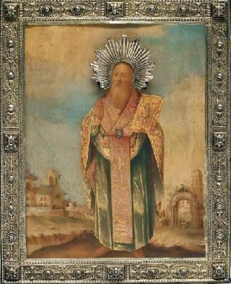 Свети Тихон Аматунтски. Руска икона от края на XVIII в.