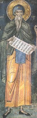 Свети преподобни Паисий Велики. Фреска от Атон, манастир Дионисиат. 1547 г.