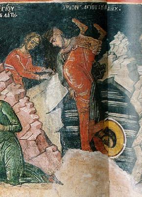 Мъчение на св. Иулиан Тарсийски. Фреска от Атон. Манастир Дионисиат. 1547 г.