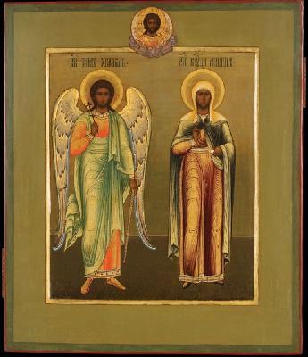Свети Ангел Хранител и мъченица Агриппина. Руска икона - около 1900 г.