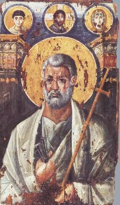 Свети апостол Петър. Икона от Византия. 2-ра половина на VI в. Манастир ''св. Екатерина'' на Синай. Египет.