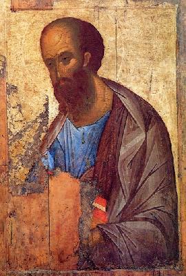 Свети апостол Павел. Руска икона от преподобни Андрей Рублев. 1420 г.