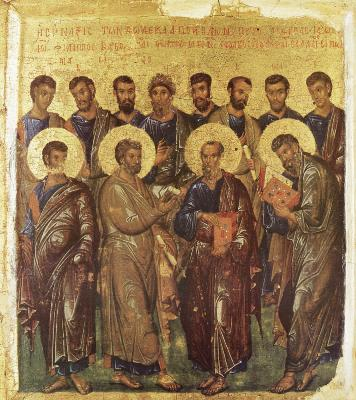 Събор на свв. 12 апостоли. Икона от Византия. 1-ва четвърт на XIV в.